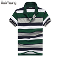 BabYoung 2017 Summer Men Brand Polo Shirt Casual Striped Polos Male Cotton Short Sleeve Shirt Jerseys Golftennis Plus Size Gray