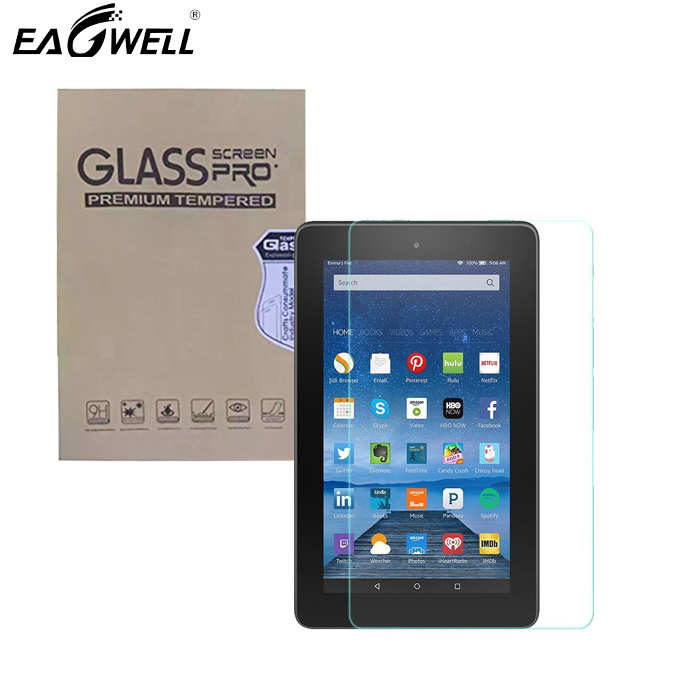 Full-Screen-Protector Tempered-Glass Fire-7 Amazon 9H HD Eagwell for Kindle 5th Transparent