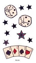 RC2281 Waterproof Tattoos Classical Poker Pattern Funny Temporary Tattoo Stickers Body Art Flash Tattoo Foil Decal