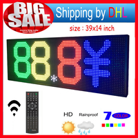 LED Sign RGB 39x14 Remote control Programmable Scrolling Outdoor Message led Display Open 7 Color Message Board