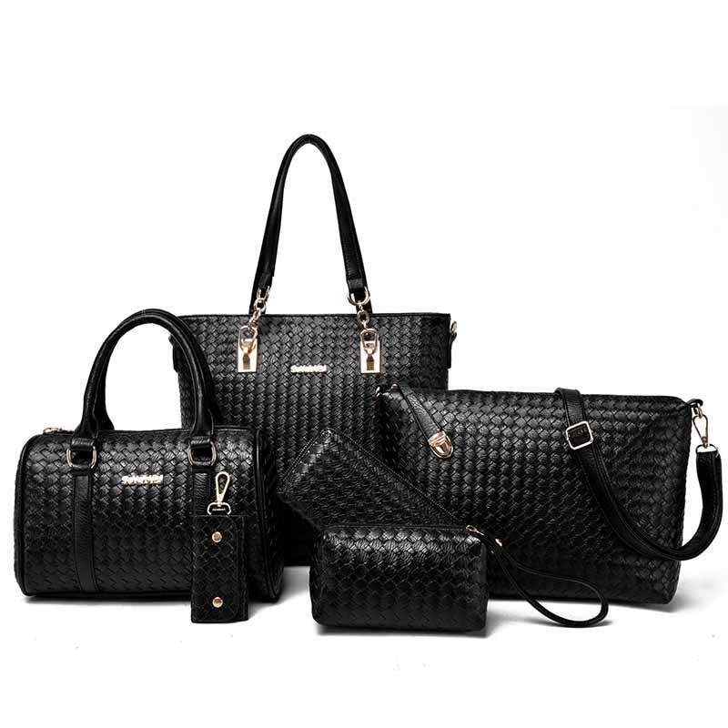 2017 News 6 Bags Per Set Women Handbag Knitting Women Bags Pattern PU Leather Lady Fashion Shoulder Bags for Women