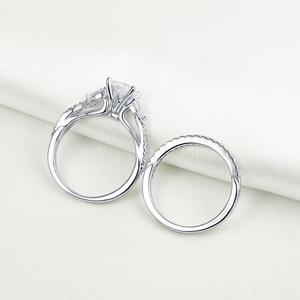 Image 3 - Newshe 2 Pcs Wedding Ring Set Trendy Jewelry 925 Sterling Silver 2.3 Ct Princess Cut  AAA CZ Engagement Rings For Women