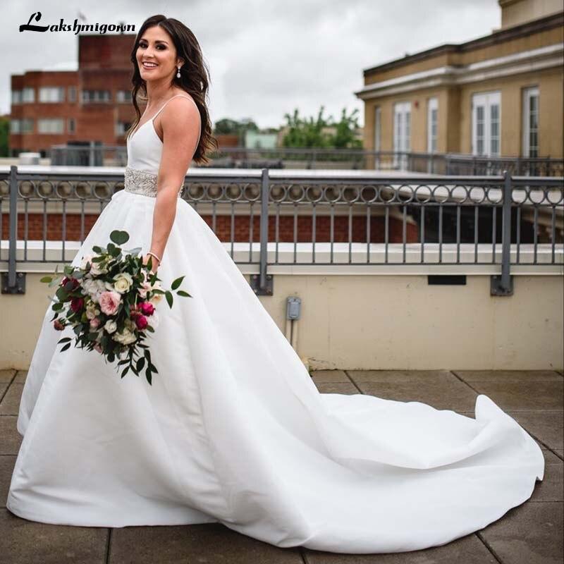 0b693734ed Lustrous Satin Plus Size Beach Wedding Dresses Spaghetti Straps Wedding  Dresses White Bridal Gowns-in Wedding Dresses from Weddings & Events on ...