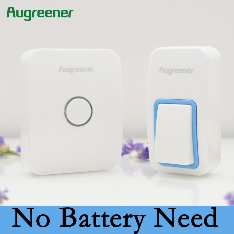 AuGreener No Battery Need EU Plug-in Wireless Doorbell Waterproof Door Bell AC220V With 1 Doorbell Push Button 1 Indoor Receiver