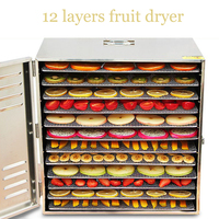 12 Layer Commercial Professional Fruit Food Dryer Stainless Steel Food Fruit Vegetable Pet Meat Air Dryer