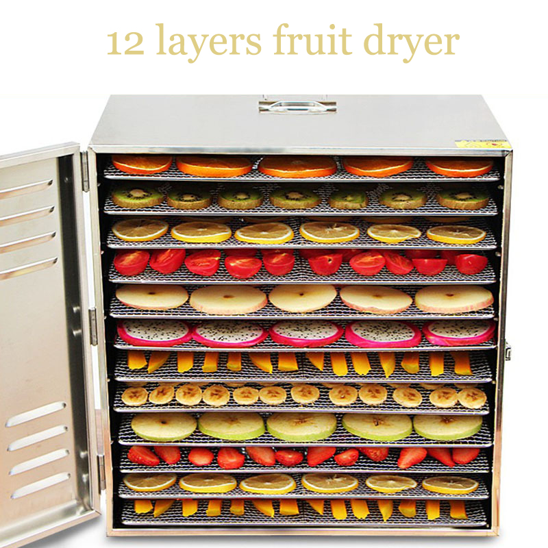 12 Layer Commercial Professional Fruit Food Dryer Stainless Steel Food Fruit Vegetable Pet Meat Air Dryer Electric Dehydrator 10 layer stainless steel commercial fruit dryer drying machine large dehydrator fruit vegetable meat pet baby food tea flower