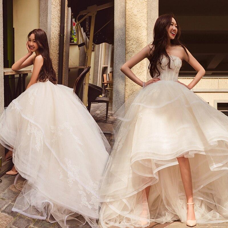 Vintage Short Wedding Dresses 2019 Off The Shoulder Short Front Long Back Wedding Gown Lace Short Sleeve Bridal Dress Real Photo