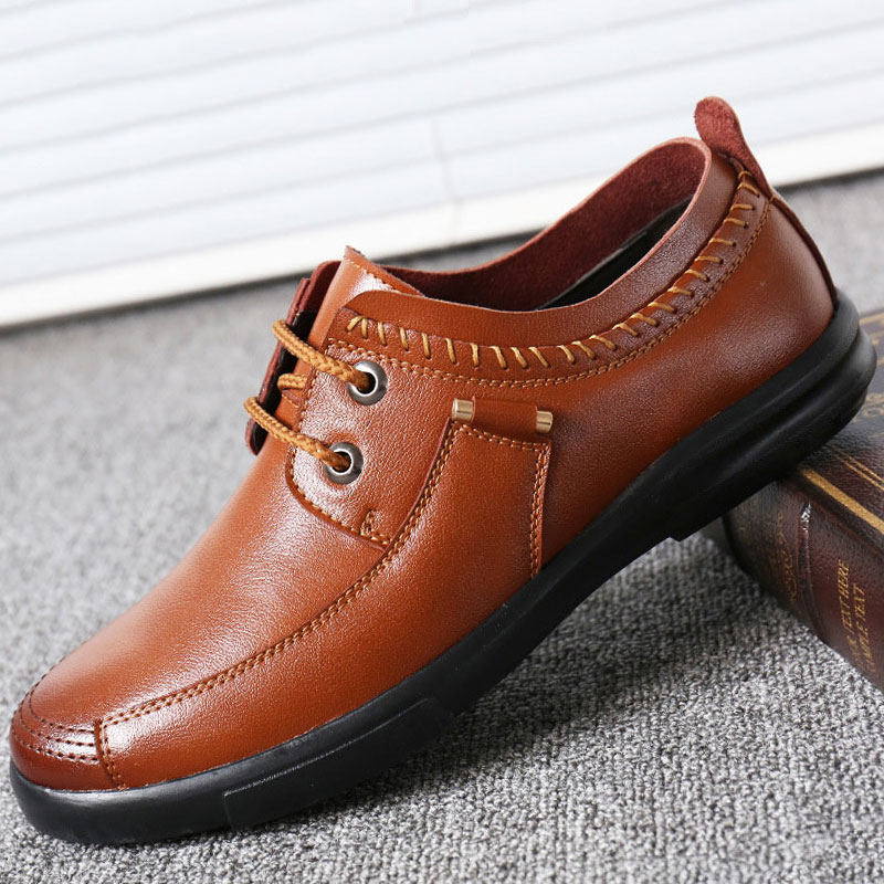 Men Dress Genuine Leather Shoes Fashion Flat Lace Up Business Casual Shoes Loafers Male Oxford Breathable Formal Wedding Shoes men business dress shoes fashion lace up flats genuine leather formal office loafers party wedding oxfords shoes male walkerpeak