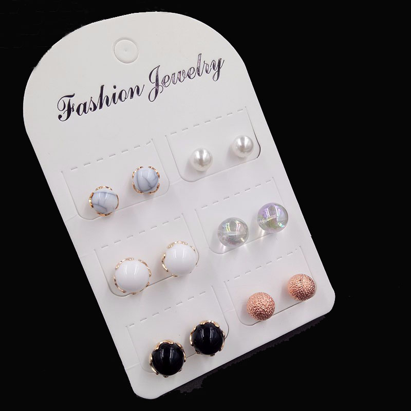 Earrings Brand New 5 Pairs Ball Alloy Crystal Stud Earrings For Women Earring Set Vintage boho earing C525 free shipping gold earrings for women