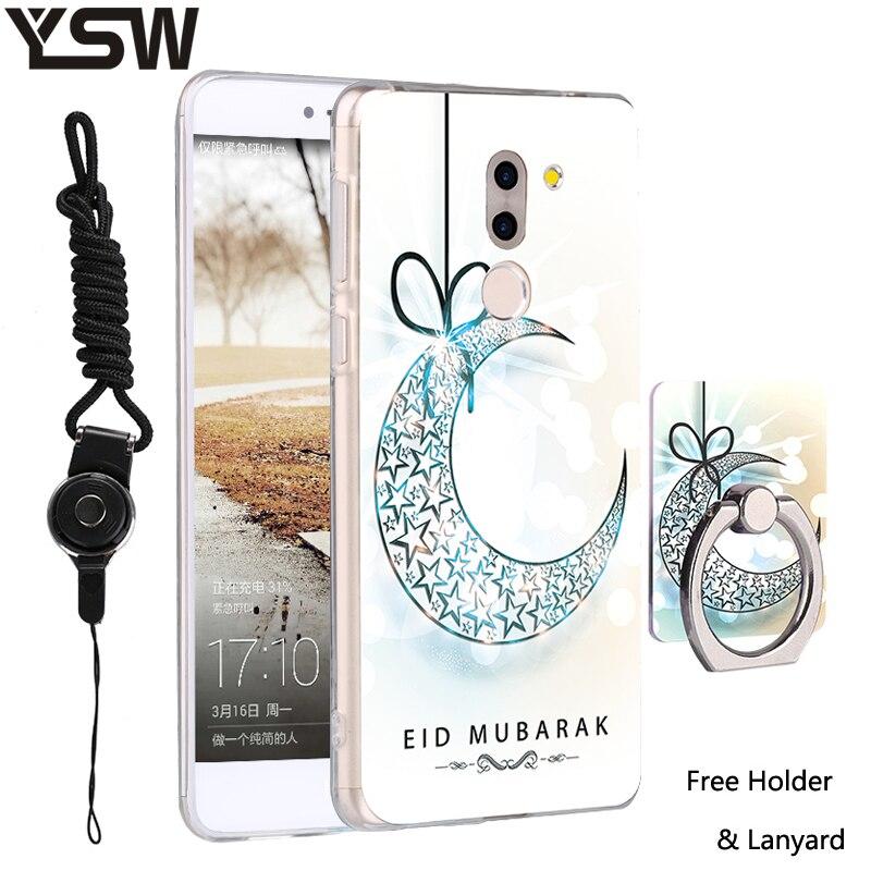 Для Huawei Коврики 9 lite чехол 3D помощи печатных силиконовые мультфильм рисунком Телефон Дело PC кольцо держатель и шнурки защитный В виде ракушк…