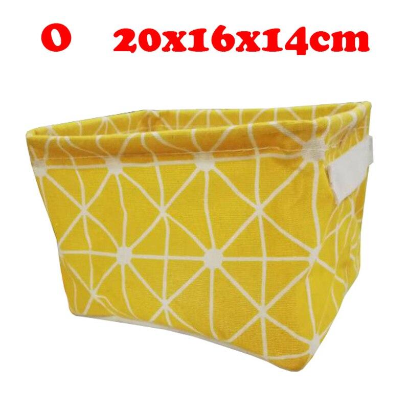 Настольный ящик для хранения с милым принтом, водонепроницаемый органайзер, хлопок, лен, корзина для хранения мелочей, шкаф, нижнее белье, сумка для хранения - Цвет: O