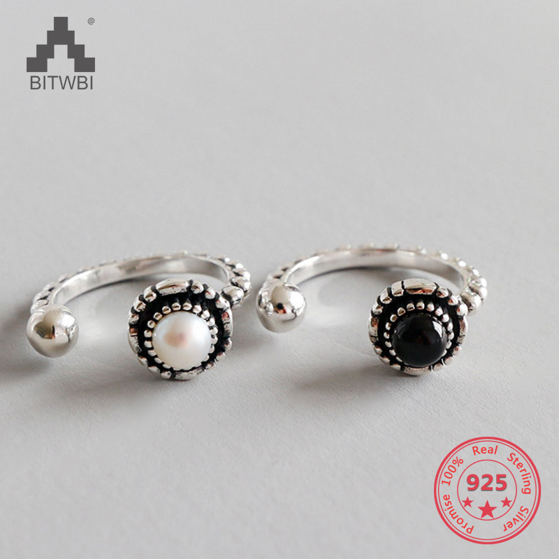 Vintage Authentic 100% 925 Sterling Silver Rings For Women Pearl Black Onyx Jewelry Vintage Authentic 100% 925 Sterling Silver Rings For Women Pearl Black Onyx Jewelry