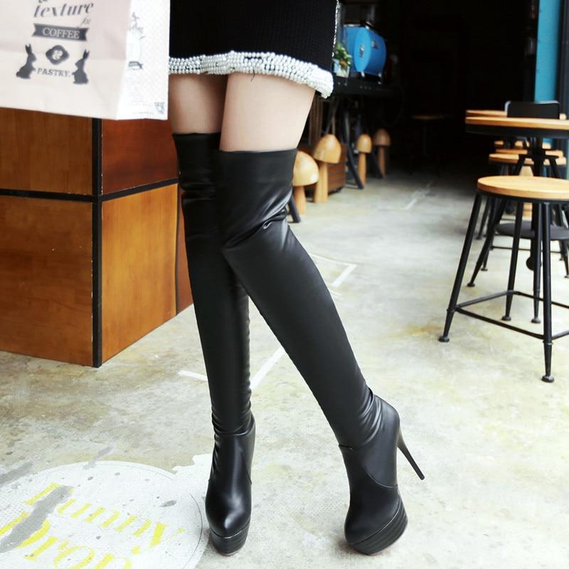 ФОТО Large Size women 13cm super high heel shoes thigh high woman thin heels Above Knee Footwear platform Slip on lady Slipony boots