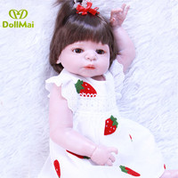 23 57cm full silicone reborn baby dolls real baby Victoria girl doll Strawberry dress bebes reborn corpo de silicone inteiro
