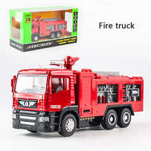 KIDAMI 1:50 Fire truck Pull Back Diecast Car Model Toy with sound light Gift toys for children Boys цена