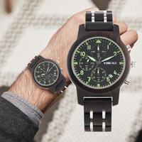 Watch Men Quartz Sport Watches Men Six pin Chronograph Dial Watches for Women Natural Handmade Wooden Wrist Watch orologio uomo