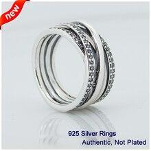 Compatible con la joyería europea anillos de plata con Clear CZ Original 925 joyería de plata DIY venta al por mayor 08R028