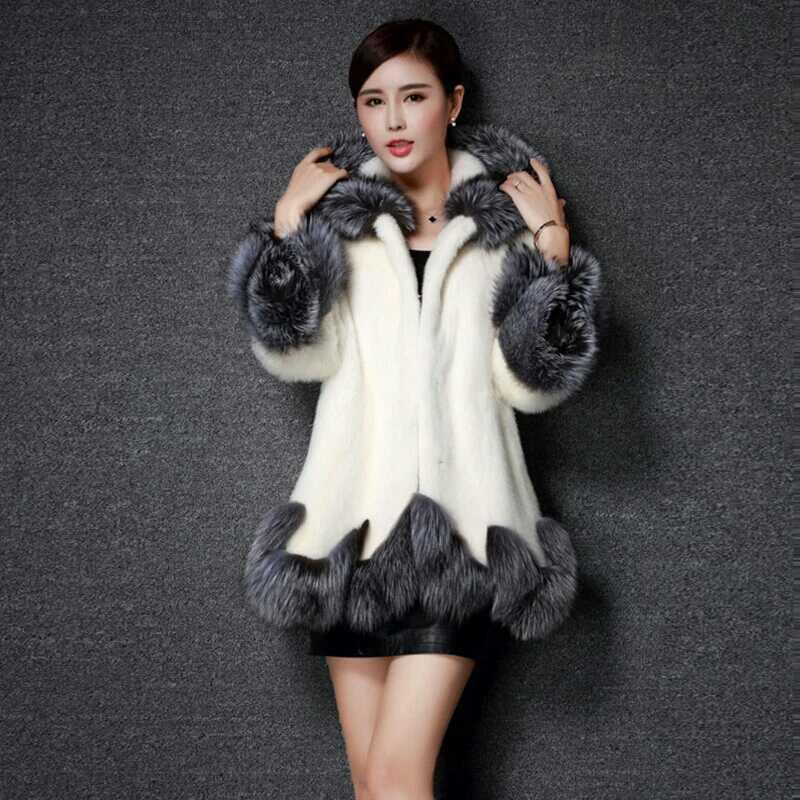 Mulheres Casaco De Pele Artificial 2019 Projeto do Inverno Imitação Raposa Casaco De Pele de Vison de Luxo Europa Mulheres Estilo Longo Casaco de Pele Falso para As Mulheres