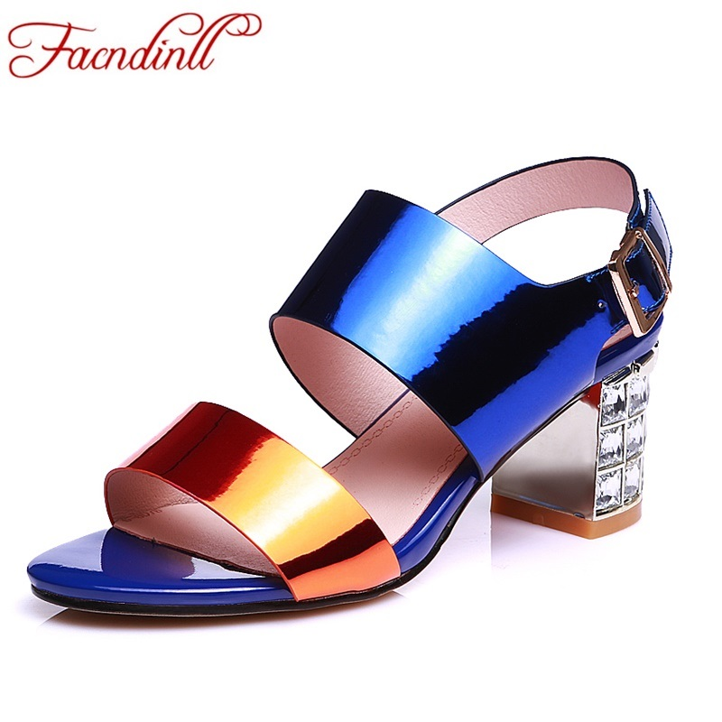 summer sandals 2018 new fashion genuien leather shoes woman sandals sexy high heels peep toe wedding party casual shoes big size new style woman shoes stiletto high heels mixed color as its character suit to party sexy peep toe fashion and unique shoes