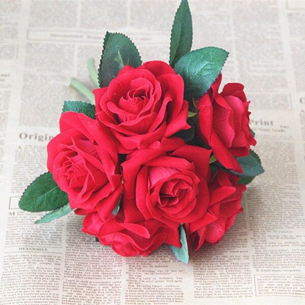 10 шт./Букет невесты, свадебный букет роз цветок домашнего интерьера гостиной скатерть моделирования искусственные цветы - 4