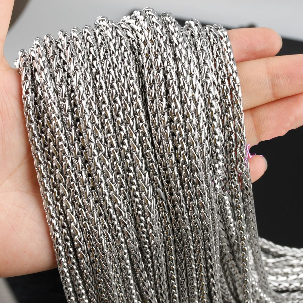 10meters New Hot Sell Wholesale in Bulk Silver Stainless Steel Wheat Chain High Quality for making