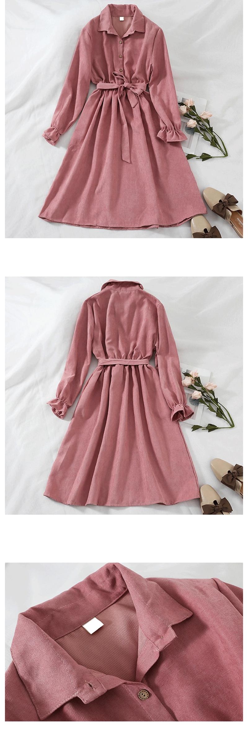 Mferlier Winter Dress Women Turn Down Collar Long Flare Sleeve Sashes High Waist Mori Girl 5 Solid Colors Vintage Shirt Dress 6