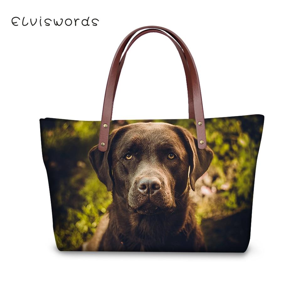ELVISWORDS Fashion Women 39 s Handbags Black Labrador Print Pattern Woman Cross Body Bags Sac a Main Little Animal Girls Purse Bags in Top Handle Bags from Luggage amp Bags