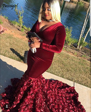 Velvet Plus Size Burgundy Prom Dresses 2019 Plunging V Neck Long Sleeves 3D Rose Flowers Black Girls Evening Dresses burgundy backless design round neck long sleeves dresses