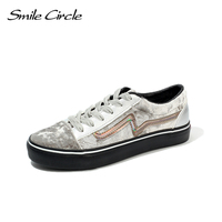 Smile Circle 2018 New Spring Shoes Women Sneakers Lace up Casual Shoes Women Fashion Gold Velvet Flat Shoes Girl Shoes A4620