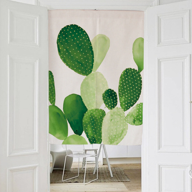 Nordic CACTUS PLANT Japanese decorative door curtains fabric cloth cotton home screens partition window curtains & Nordic CACTUS PLANT Japanese decorative door curtains fabric cloth ...