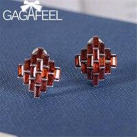 GAGAFEEL New 925 Sterling Silver Red Zircon Earrings Geometric Hoop Earrings for Women Ladies Silver Jewelry