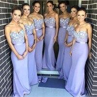 Lilac Long Bridesmaid Dress Mermaid Sweetheart Appliques Beaded Maid of Honor Dress Vestido Para Madrinha De Casamento