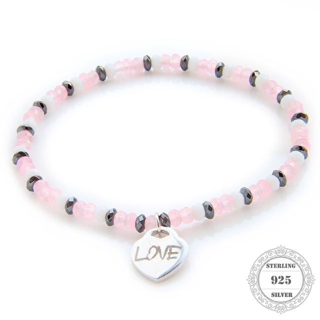 HEMISTON 925 Pink Rose Quartz Bead Bracelet with 925 Sterling Silver Love Heart Charm for Women Fine Jewelry Gift TS-B090