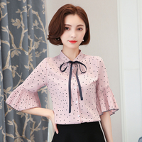 2017 Spring Summer Women Shirts Bow Ruffles Flare Sleeve Polka Dot Chiffon Clothes Small Blouse Shirt