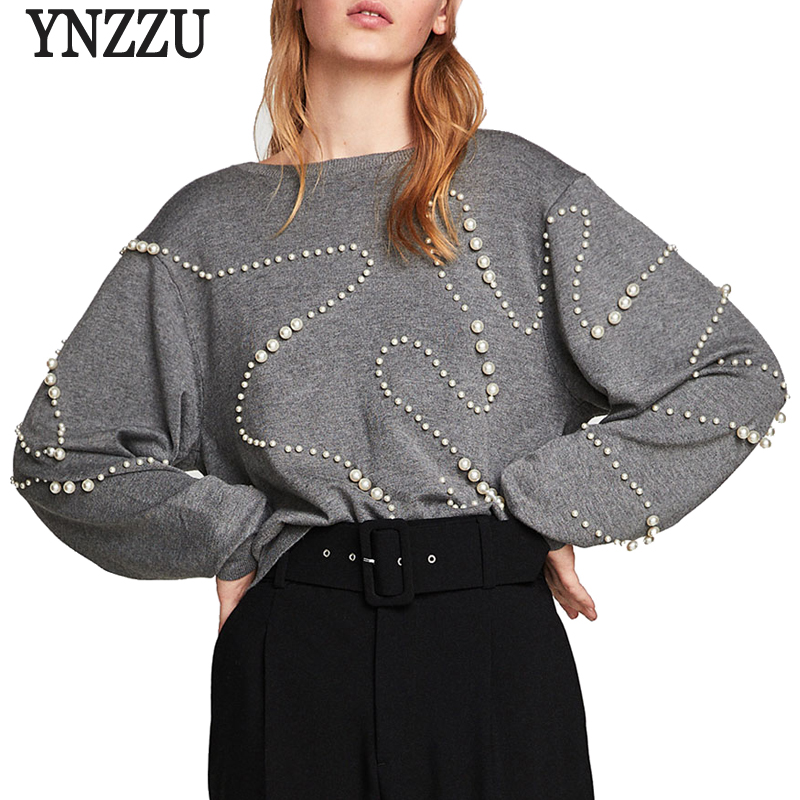 European Pearls Knitted Sweater Women Casual O Neck Long Sleeve Pull Femme  Jumper 2018 Autumn Winter Women Tops Pullover AT160-in Pullovers from  Women s ... 7949870f1