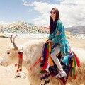 2014 Women Fashion Sun Flower Print Super Thick Cotton Scarf Shawl Cape Tassel Poncho Knit Sweater Knitted Lady Cardigan Wrap