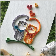 5D Diy Diamond Painting Cross Stitch Colored Two Cats In Love Mosaic Full Embroidery Rhinestone Home Decoration