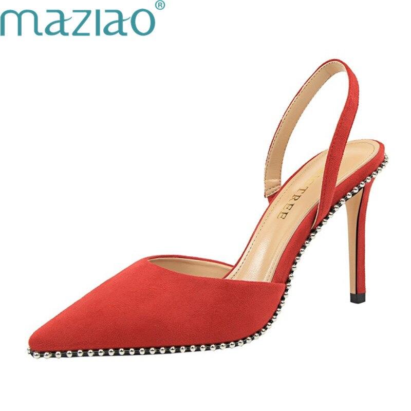 Mujer Fiesta Tacón Goma Zapatos rojo Hueco Negro Elegante Remache Boca apricot Boda Maziao De Stilleto Baja Señoras Alto xvqWwP80P