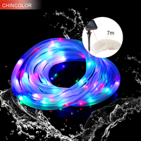 7M 50Leds Solar Led Light String Waterproof Rope Tube Fairy Christmas Garlands Copper For Fence Landscape