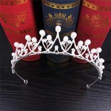 Crystal Pearl Tiara Wedding Crown Hairwear Bride Hair Accessories Round Crown Bridal Pearl Tiara Headband Princess Girl Crown
