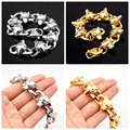 89g Strong Men's Boys Stainless Steel Wolf Heads Link Chain Gold/Silver Tone Chain Bangle Bracelet Wristband Jewelry 20mm*8.85""