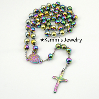 BIG Rosary 8mm Bead 73cm Chain Religious Beckham Cross Stainless Steel Necklace Womens Mens Fashion Jewelry