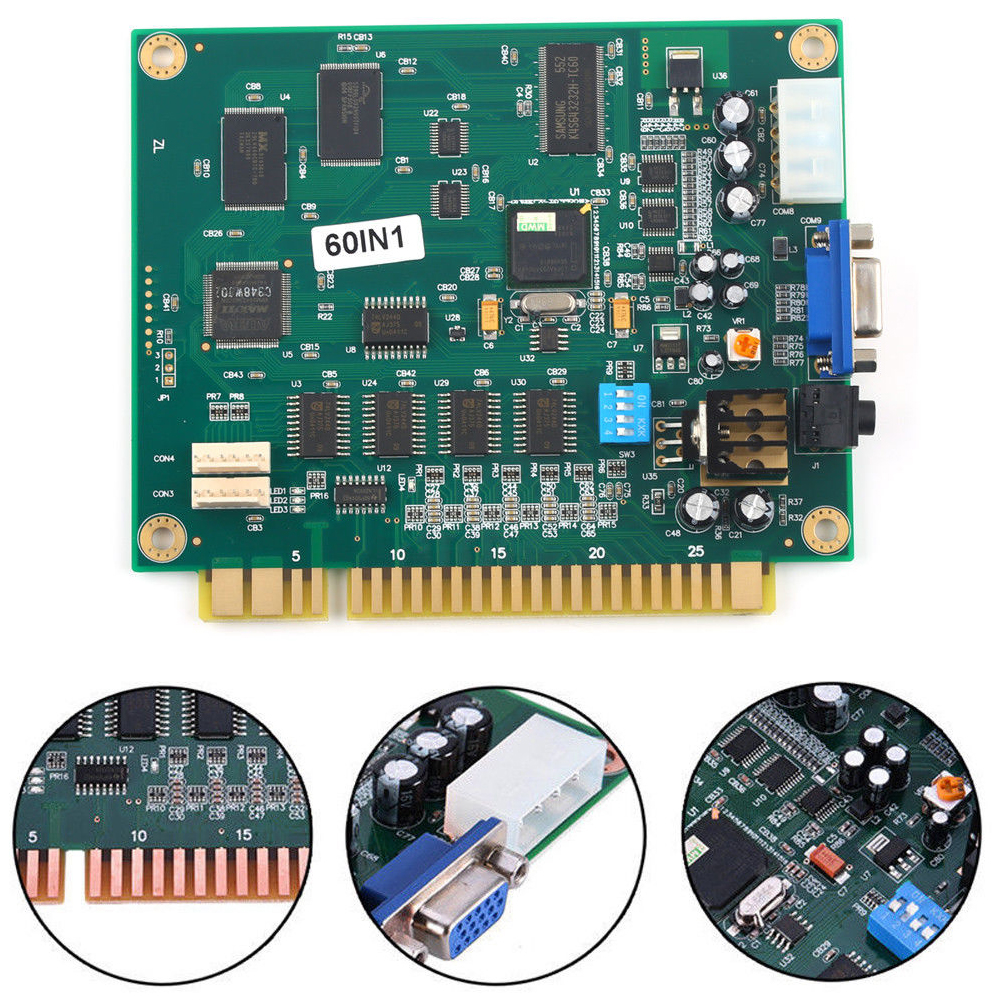 60 In 1 Easy Installation CGA VGA Output Multicade PCB Vertical Funny Game Board Classic Horizontal
