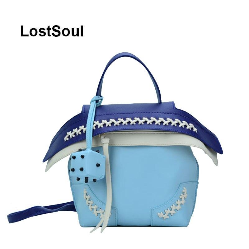LostSoul femmes sac à dos mini sac pack pour filles sacs à bandoulière seau contraste couleur dés ornement bleu sac petit sac a dos femme