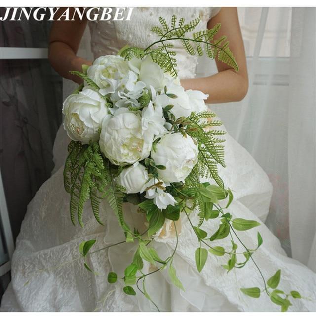 New Waterfall Style Handmade Wedding Bridal Bouquet Peony Hydrangea Artificial Flower Bride Hand Holding Bridesmaid