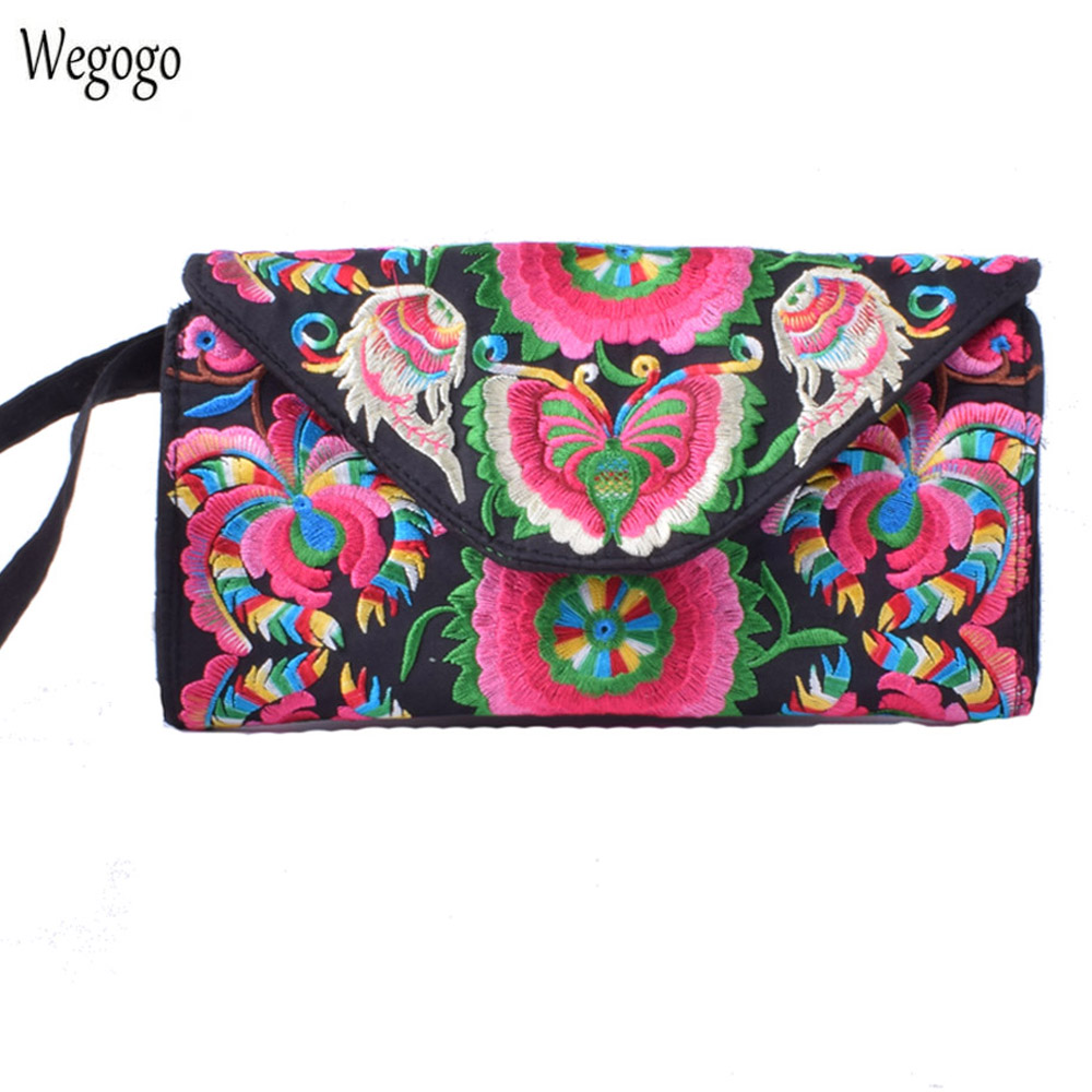 New Women Bag National Double Side Embroidery Purse Canvas Long Wallet Card Holder Beach Travel Evening Handbag Phone Coin Bag