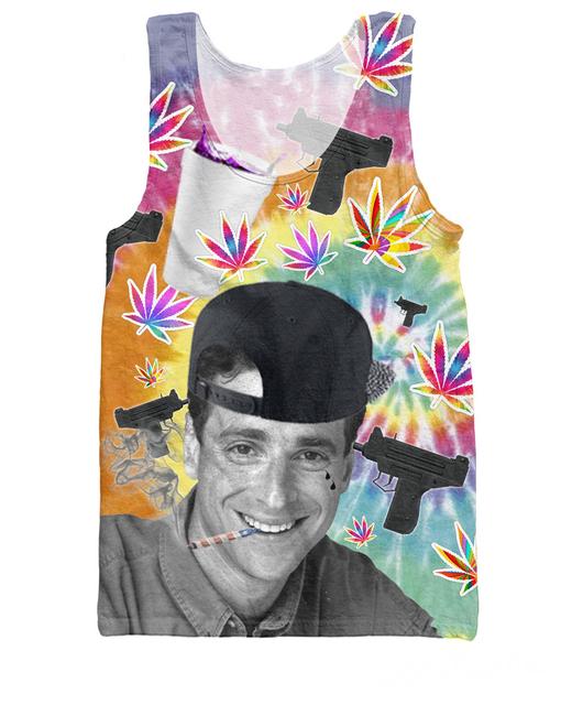 Homens verão estilo Casa Cheia de Carne Magra Tanque Topo Bob Saget tanque garrafa bebeu roxo folha de plantas daninhas Colete arma glock jersey