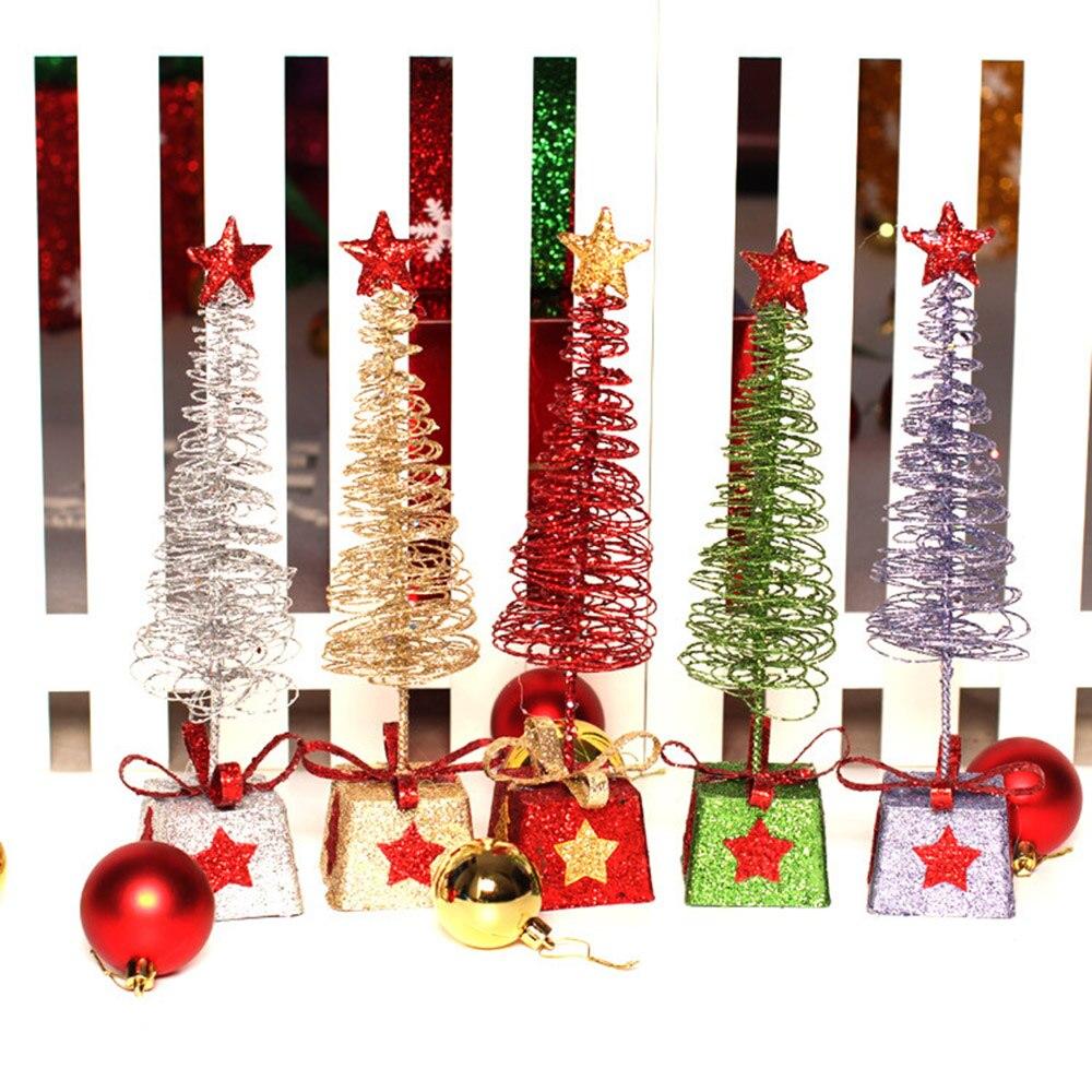 2017 Christmas Decorations Desktop Mini Christmas Trees Ornaments Iron Window Scene Gift Fashion
