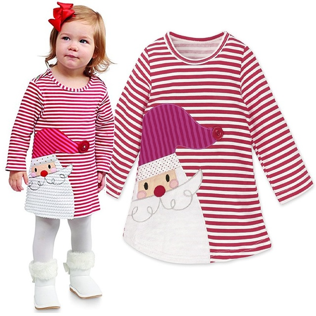 baby christmas costumes girls dress children dresses red striped santa girl clothes kids blouse vestidos toddler