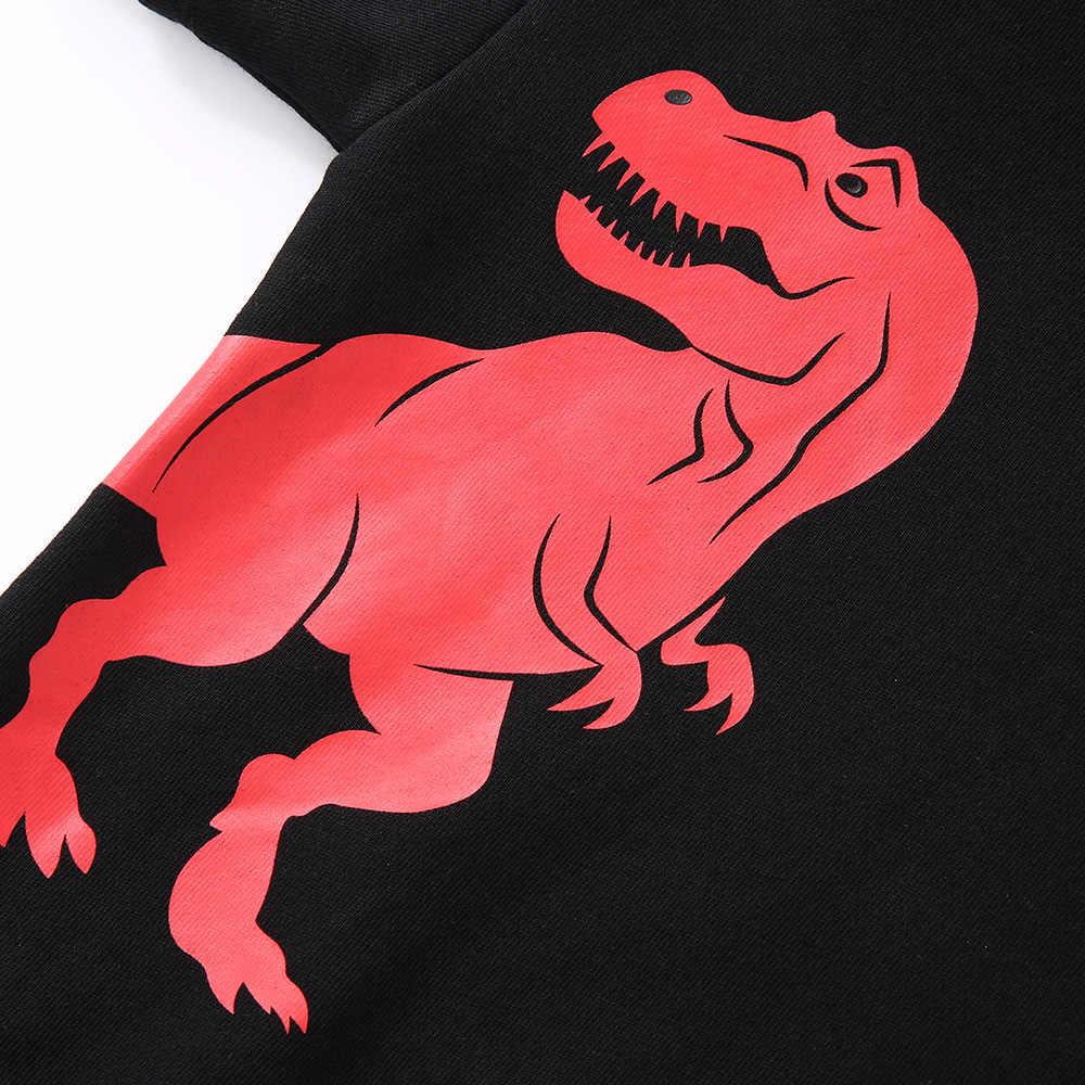 Balabala Peuter Jongen Nep 2 Stuk Dinosaurus Hooded Sweatshirt met Gestreepte Mouwen Kinderen Kids Trui Capuchon Zachte Katoen Gevoerd